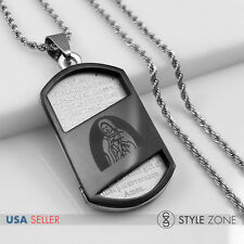 Stainless Steel Bible VIRGIN MARY Dog Tag Pendant Rope Necklace Black Silver 13H