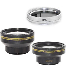 30mm Wide Angle + Telephoto Lens Kit + CPL Filter for Sony Handycam DCR DVD106E