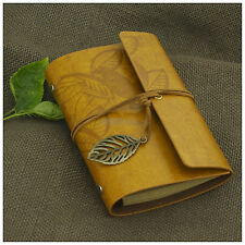 Vintage Classic Portable Leaves Leather Notebook Diary Refillable Page Goldenrod