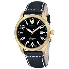 NEW RRP £185 Swiss Eagle SE-9029-05 Mens Field Cadet Black Leather Strap Watch