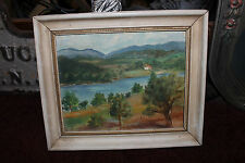 Vintage EB Bartlett Oil Painting On Board-Country Home Trees Mountains Water