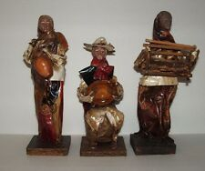 Vintage Handmade Mexican Paper Mache Dolls Figurines Mexican Folkart Set of 3