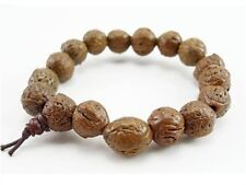Big Stretchy Tibetan 14 Old Raw Dragon Eye Bodhi Seed Prayer Beads Mala Bracelet