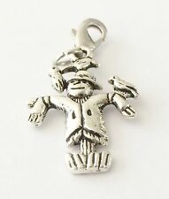 LOVELY SILVER SCARECROW WITH BIRD ON ARM  CLIP ON CHARM  - TIBETIAN SILVER - NEW