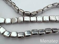 25 6x6x3mm CzechMates Two Hole Tile Beads: Silver