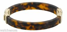 Michael Kors Hinged Tortoise-shell Bangle Engraved Buckle Bracelet MKJ1031