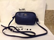 NWT. Coach Pebbled Leather Cross-body Pouch Bag Metallic Midnight Blue F65988