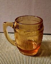 Fenton Pressed Amber Glass Barrel Cup Miniature Mug Toothpicks Shots