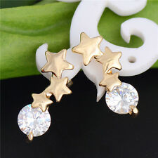 Attractive Star shape 18K gold filled cubic zirconia lady's stud earrings