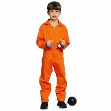Orange Prisoner Boy Convict Inmate Overall Jumpsuit Fancy Dress Costume Age 7-12