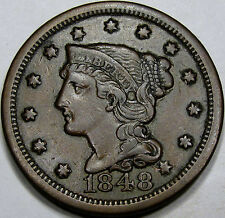 1848 Braided Hair Large Cent Choice AU+ Coin... Nice and Original, N-20 Variety!