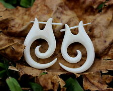 Tribal Spiral Gauge White Bone Earrings , Fake Gauge, Split Earrings, Spade