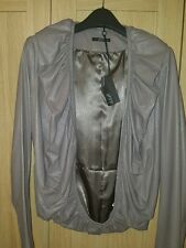 Ladies Unusual Leather Jacket With Ruffles by DVO. Size 12/14. New With Tags