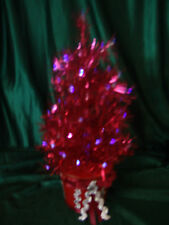 TABLE TOP 14 INCH RED PRE LIT FIBER OPTIC TINSEL CHRISTMAS TREE FREE SHIPPING
