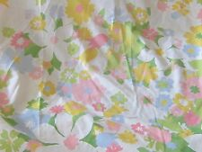 Vintage twin sheet set with 1 pillowcase pink yellow blue spring flowers retro
