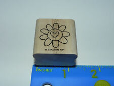 Stampin Up Rubber Stamp - Cute Flower with Heart Center