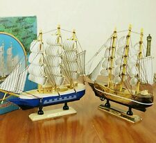 Mediterrane Sailor's Wooden Sailing Wealth Ship |Feng Shui |Lian Hua|Height 24cm