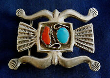 NATIVE AMERICAN, CAST STERLING, STAMPED, TURQUOISE & CORAL, MAN'S VINTAGE BUCKLE