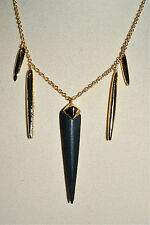 NWT $145 ALEXIS BITTAR Black Lucite Sport Deco Golden Spear Necklace Crystals