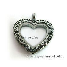 One Vintage Antique Peach Heart Pendant  Floating Charms Memory Glass Locket