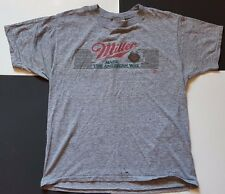 VTG Miller Beer Tri Blend T Shirt Large Rayon Sneakers Rare Distressed 80s Booze