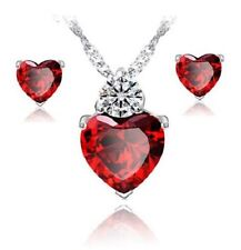 Sterling Silver Heart Blood Ruby Stone Pendant Necklace Earring Jewelry Set B6