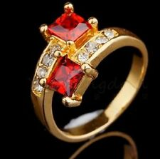 18K GOLD FILLED RED RUBY, AUSTRIAN CRYSTAL CROSSOVER RING.SIZE Q