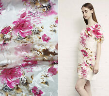 BURN-OUT SILK(75%) CHIFFON FABRIC WITH PINK FLORAL BY THE YARD S168