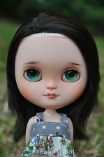 Custom Icy doll - Dark brown hair with light brown highlights (side parted hair)
