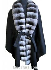 Women's New 100% Cashmere  Cape Wrap with  Chinchilla Fur Collar SALE!!