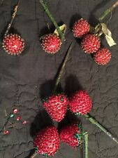 Vintage 60's Sequin Beaded Hand Crafted Fruit Strawberry Cherry WOW!!