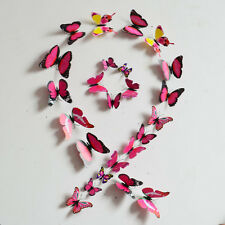 Rose 12PCS DIY 3D Plastic Butterfly Wall Sticker Home Decor Art Room Decorations