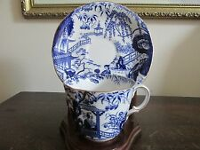 Royal Crown Derby England Demitasse Cup & Saucer Oriental Scene Blue And White