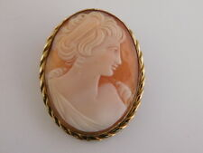 10K GF HAND CARVED SHELL CAMEO PIN BROOCH PENDANT SIGNED MARBRO VINTAGE ANTIQUE
