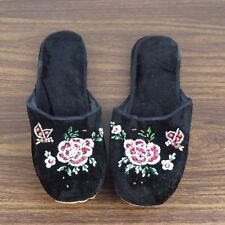 Pair of Embroidered Chinese Women Floral Velvet Slippers in Black Size 41 New