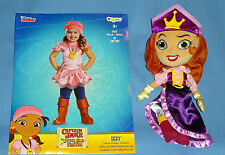 DISNEY IZZY PIRATE COSTUME;3T-4T;BOOT COVERS;SCARF;PLUSH PRINCESS DOLL-EUC;LOT