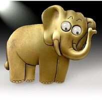 JJ VINTAGE ELEPHANT WITH GOOGLY EYES MOVEABLE HEAD BRASS BROOCH