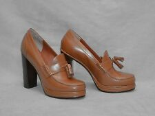 B6 Auth MARC BY MARC JACOBS Brown Leather Platform Tassel Hi Heel Shoes Size 40