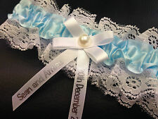 PERSONALISED WEDDING BRIDAL GARTER LINGERIE SOMETHING BLUE GIFT BRIDE PG102