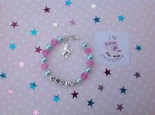 Personalised Unicorn Bracelet And Sticker, Gift Or Party Bag Filler, Any Size