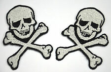 TWO SKULLS AND CROSS BONES EMBROIDERED APPLIQUE BADGES MORALE PATCH SEW IRON ON