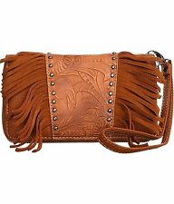 Montana West® Floral Tooled Wristlet Wallet w/ Leather Fringe- Peach/Brown