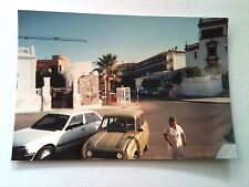 Vintage 90s Photo Renault Car Chipiona Spain Downtown Mural In Backround Woman