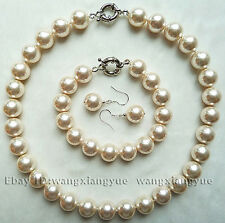 12mm White South Sea Shell Pearl Round Beads Necklace bracelet Earrings Set