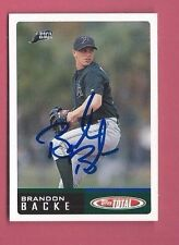 BRANDON BACKE Autograph 2002 TOPPS  TOTAL Auto Signed RAYS