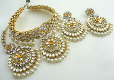 ORANGE CZ KUNDAN GOLD TONE BOLLYWOOD CHOKER NECKLACE INDIAN JEWELRY SET 4 PCS