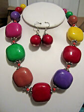 Multi Color Ceramic Bead Chunky Necklace Earring Set