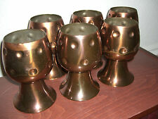 SET OF 6 ANTIQUE CHASE COPPER HOLY GRAIL STYLE GOBLETS CUPS OR WINE GLASSES