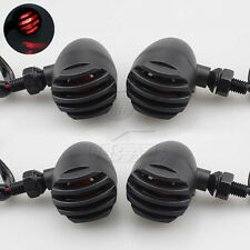4x Black Metal Bullet Red LED Turn Signal Light Indicator Harley Cruiser Chopper