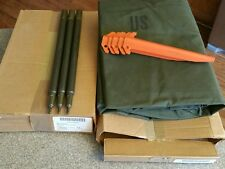 ~US Army Military Pup Tent 2 Shelter Halves w/ Poles & Stakes~New Vintage Boxed~